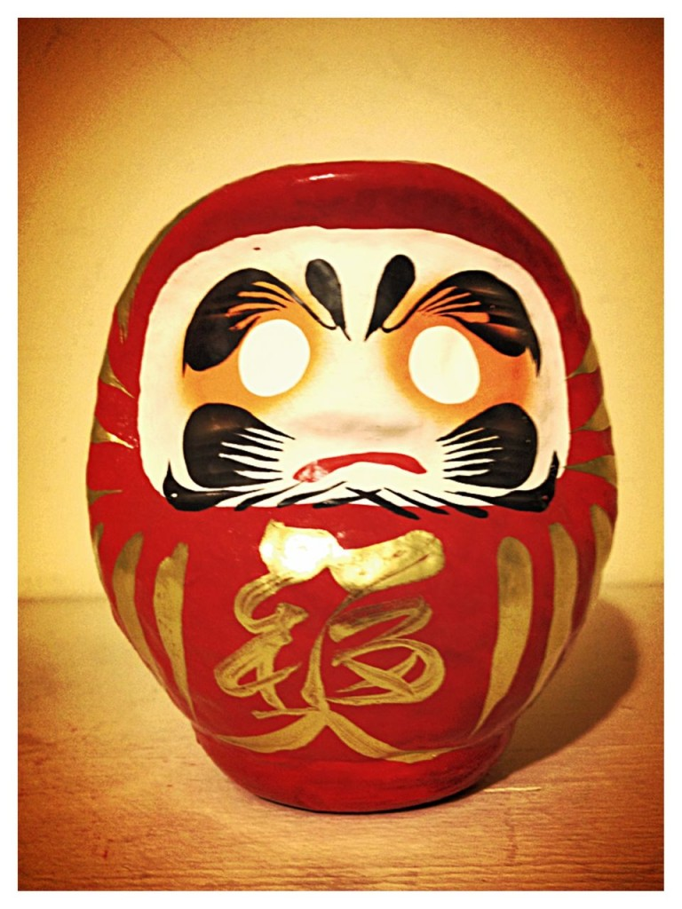 The Daruma before we made our wish and colored in one eye